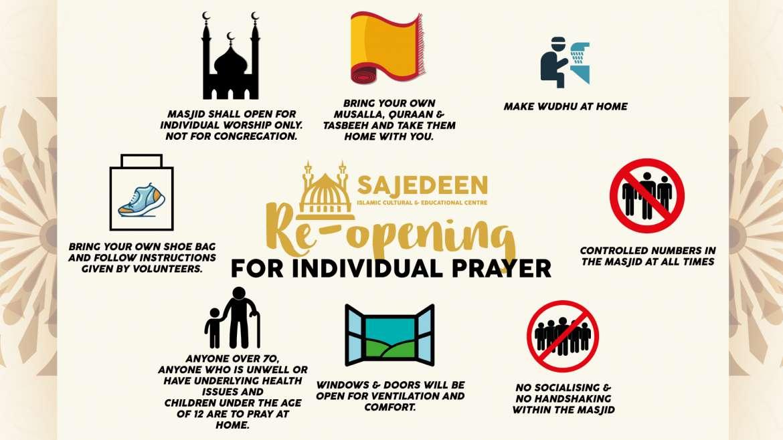 Masjid Re-Opening for Individual Prayers