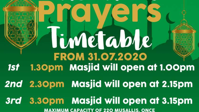 UPDATED Jumuah Prayer Times