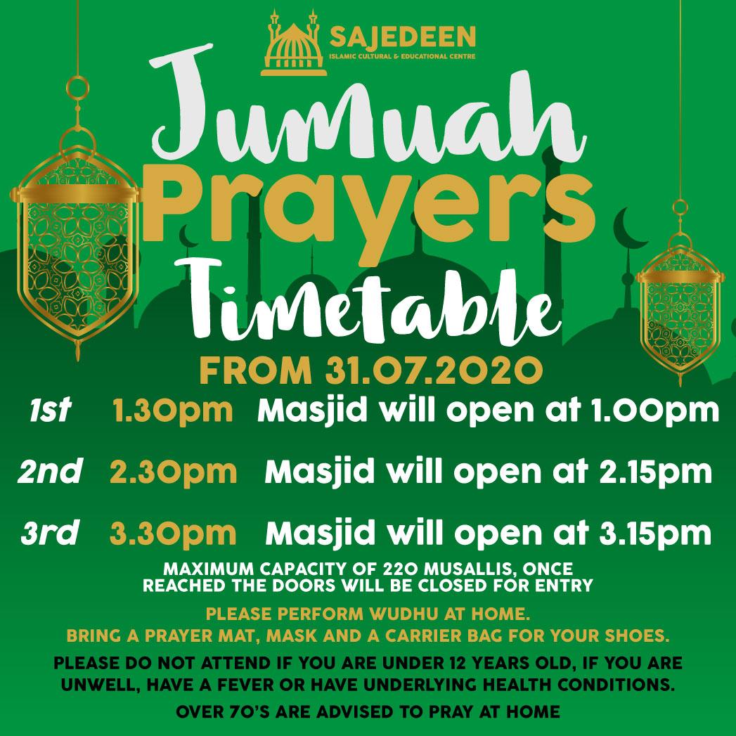 UPDATED Jumuah Prayer Times